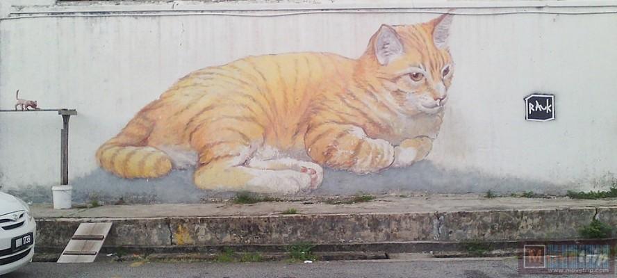 giant cat street art goergetown
